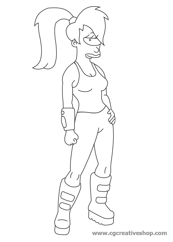 Leela di Futurama disegno da colorare