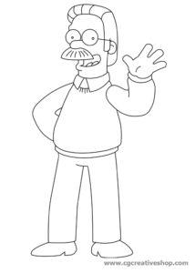 Ned Flanders - Simpson, disegno da colorare
