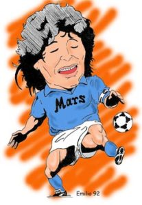 Caricatira di Diego Armando Maradona, il pibe de oro