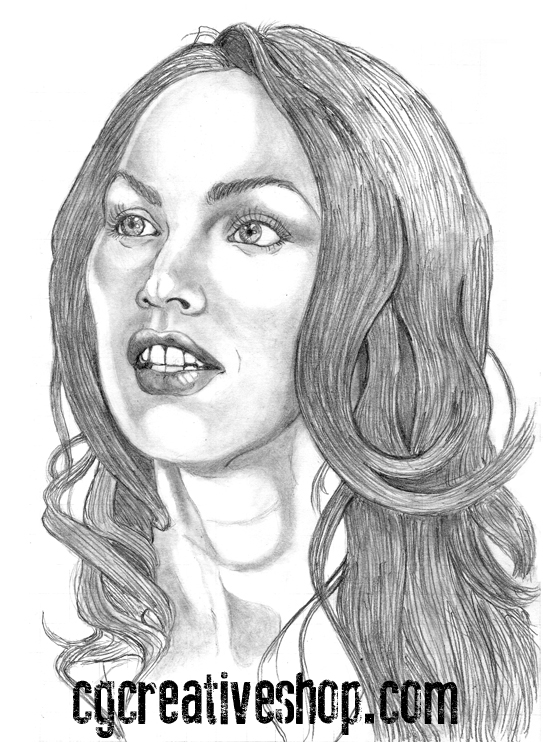 Pencil drawing of Megan Fox actress and model