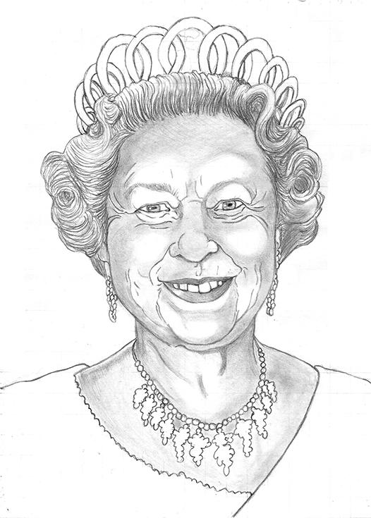 Pencil drawing of Queen Elizabeth II