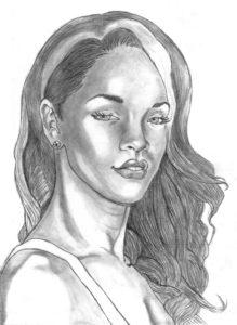 Pencil drawing of Rihanna