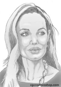 Pencil Portrait of Angelina Jolie