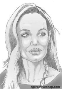 Pencil Portrait of Angelina Jolie