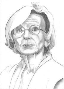 Ritratto a matita di Emma Bonino del partito Radicale