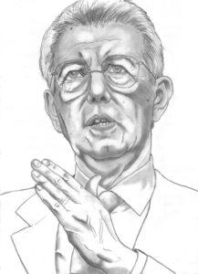 disegno a matita di Mario Monti, senatore a vita
