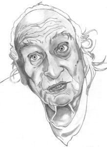 Disegno a matita di Marco Pannella leader dei radicali