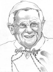 Pencil drawing Pope Benedict XVI, Joseph Ratzinger