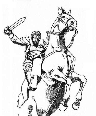 Disegno a penna di cavallo e cavaliere