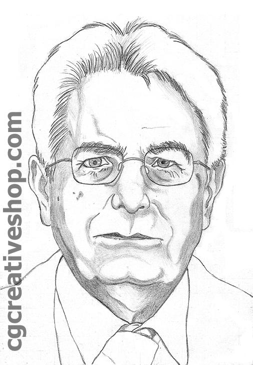 Ritratto a matita di Sergio Mattarella nuovo Presidente della Repubblica Italiana
