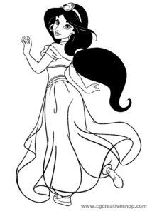 Jasmine fidanzata di Aladin, disegno da colorare