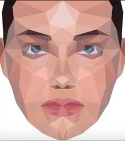 low poly portrait in Illustrator