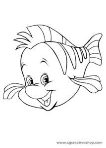 Flounder Friend Ariel coloing pages