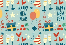 Happy New Year Themed Pattern in Illustrator