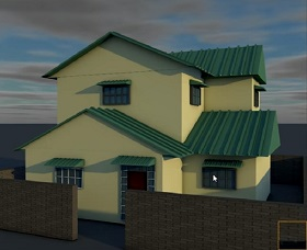 realistic house in cinema 4d
