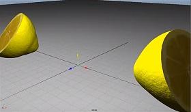 Model a lemon and cut in Maya