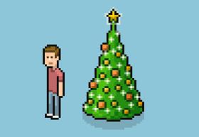 Isometric Pixel Art Christmas Tree in Photoshop