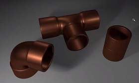 Copper fittings in Maya