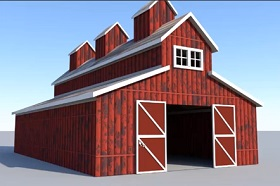 Modeling a Classic Red Barn in Autodesk Maya
