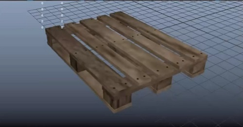 model a low poly wooden pallet in maya