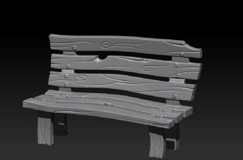 Stylized Wooden Bench in Zbrush