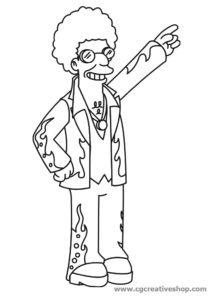 Disco Stu dei Simpson, disegno da colorare