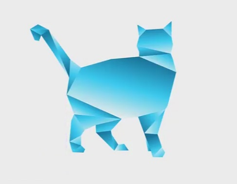 Cat in Origami Style with Illustrator