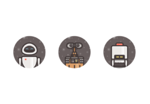 Icons of Wall-E in Adobe Illustrator