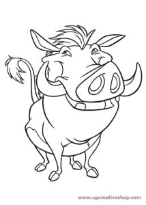 Pumbaa il facocero del Re Leone, disegno da colorare