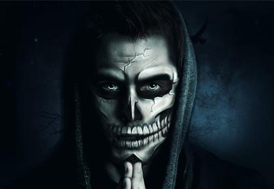 Paint Halloween Skull Makeup in Photoshop