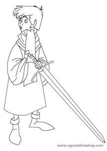 Re Artù - La spada nella Roccia - Disney, disegno da colorare