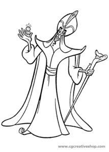 Jafar il cattivo di Aladdin (Disney), disegno da colorare