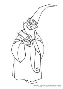 Mago Merlino (Disney), disegno da colorare
