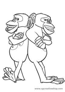 Mason e Phil - Scimpanzè di Madagascar - disegno da colorare