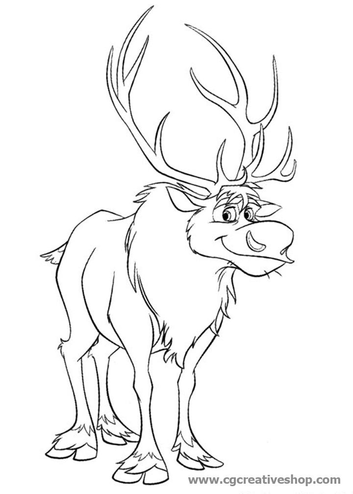 Sven la Renna di Frozen (Disney), disegno da colorare