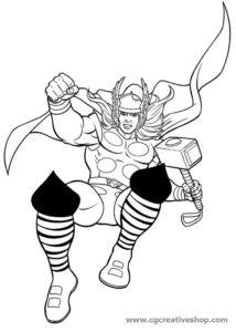 Il Dio del Tuono Thor, disegno da colorare