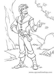 Flynn Rider - Rapunzel - disegno da colorare