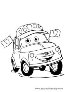 Luigi la Fiat 500 di Cars (Disney), disegno da colorare