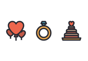Vector icon love pack in Illustrator