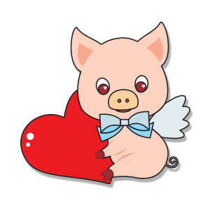 Valentine's Piglet Free Vector download