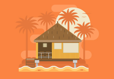 Draw a Tropical Bungalow on a Palm Beach in Illustrator