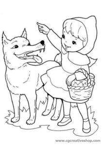 Cappuccetto Rosso, disegno per bambini da colorare