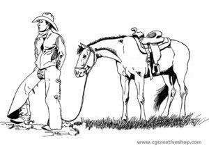 Cowboy con Cavallo, disegno da colorare