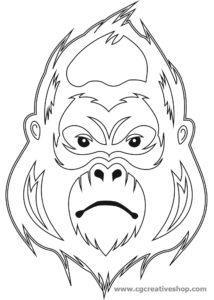 Maschera di Gorilla, disegno da colorare