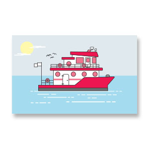 Vector Boat and Ocean Free download