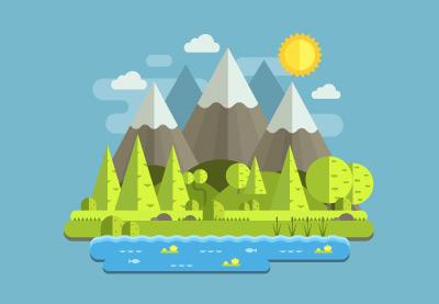 Draw a Flat Mountain Landscape in Illustrator