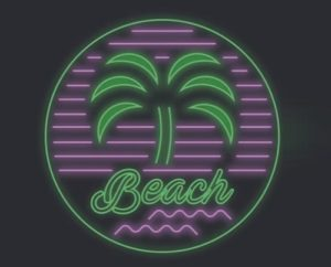 Draw a Neon Beach Badge Logo in Illustrator