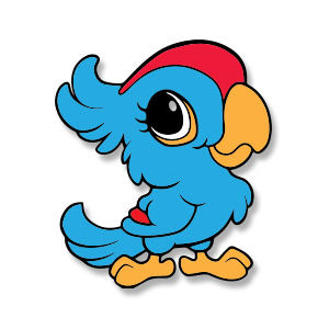 Cute Blue Parrot Free Vector download