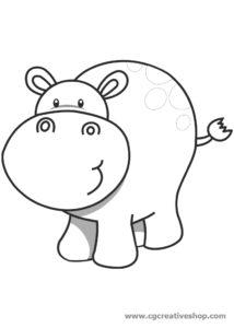 Ippopotamo, disegno per bambini da colorare