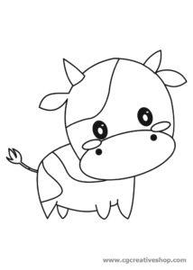 Mucca, disegno per bambini da colorare